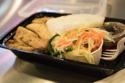 """Found a authentic Lao restaurant - felt like home! """"Gai Yang"""" grilled chicken with papaya salad and sticky rice"""